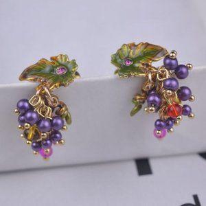 Les Nereides Purple Grape And Leaf Earrings